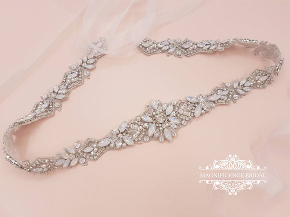 Opal bridal belt, bridal belt, opal sash, bridal sash, rhinestone belt, Art deco, beaded belt, opal wedding belt, wedding belt, opals, FIONA - magnificencebridal-com