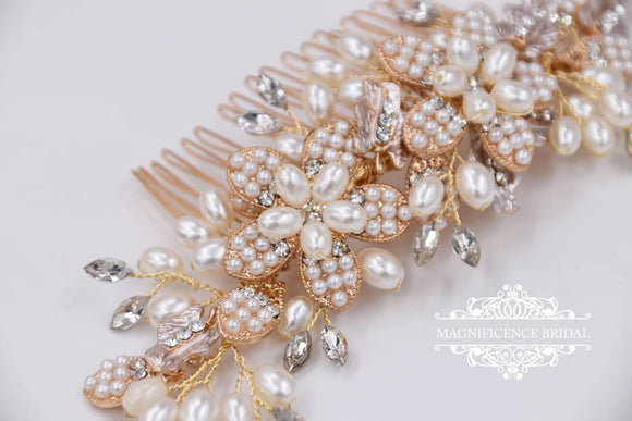 Gold headpiece, Gold bridal comb, Pearl bridal comb, Bridal headpiece, bridal comb, pearl headpiece, pearl comb, wedding headpiece, JULIANA - magnificencebridal-com