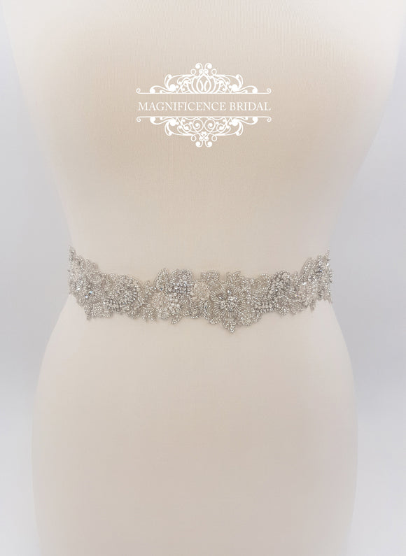 Bridal belt, wedding belt, bridal sash, rhinestone belt, wedding dress belt, beaded bridal belt,  bridal belts, pearl bridal belt, VIRGINIA - magnificencebridal-com