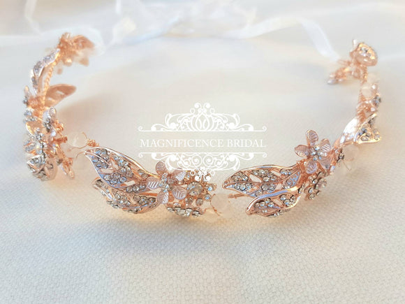 Rose gold headpiece, bridal hair vine, rose gold crown, rose gold tiara, rose gold bridal, bridal headpiece, leaf crown, rose gold, ROSALIE - magnificencebridal-com