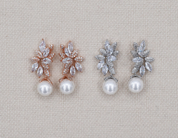 Pearl bridal earring, pearl drop earrings, rose gold earrings, rose gold pearl, pearl earrings, bridal earrings, wedding earrings, JANICE - magnificencebridal-com