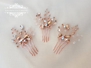 Rose gold comb, Swarovski rose gold, rose gold headpiece, bridal comb, bridal headpiece, rose gold hair pin, Swarovski comb, headpiece, JODY - magnificencebridal-com