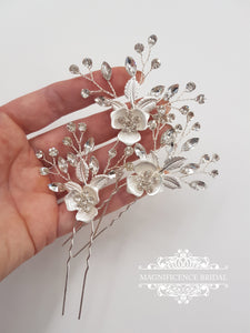 Bridal hair pins, wedding hair pins, rose gold headpiece, Bridal headpiece, bridal hairpiece, Crystal headpins, rose gold wedding FAYE - magnificencebridal-com