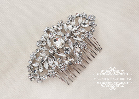 Wedding hair comb, bridal hair comb, bridal comb, wedding comb, crystal comb, vintage hair comb, crystal hair comb, rhinestone comb,  ARVEN - magnificencebridal-com