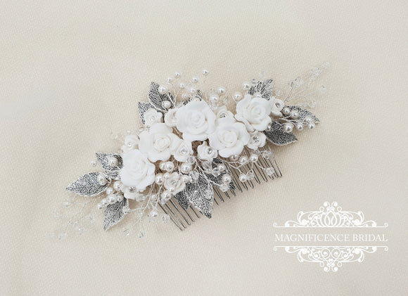 Wedding headpiece, Bridal comb, bridal hair comb, Bridal headpiece, wedding comb, Wedding hair comb, bridal hairpiece, back headpiece ARA - magnificencebridal-com
