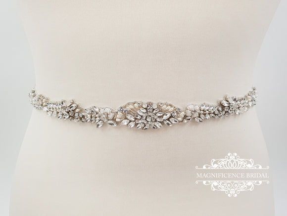 Thin beaded belt LEONA - magnificencebridal-com