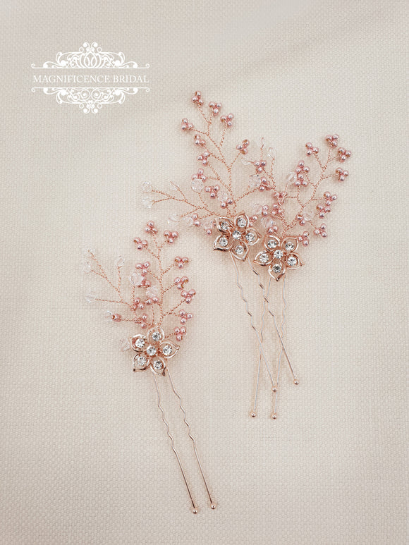 Blush hair pins NINA - magnificencebridal-com