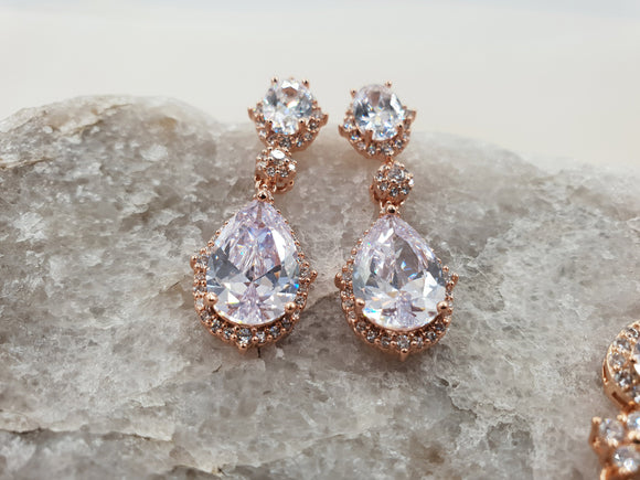 Rose gold drop earrings HARRIET - magnificencebridal-com