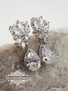Bridal earrings, bridal drop earrings, wedding earrings, dangle earrings, Zircon earrings, bridal dangle earrings, crystal earrings VIVIENNE - magnificencebridal-com