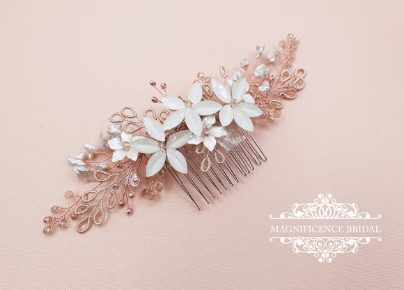Bridal headpiece, rose gold headpiece, rose gold hair comb, rose gold hair piece, Wedding headpiece, Bridal hair comb, bridal comb JESS - magnificencebridal-com