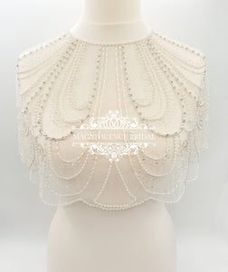 Art Deco wedding, Bridal cover up, Bridal capelet, shoulder cover up, Great Gatsby, wedding capelet, beaded capelet, bridal wrap, HOLLIE - magnificencebridal-com
