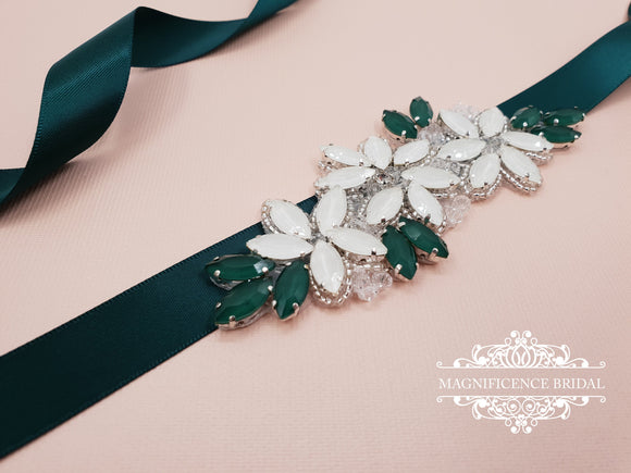 Bridal sash, white flower sash, bridesmaids sash, sash belt, emerald belt, matte stones belt, green bridal belt, thin bridal belt, KELLY - magnificencebridal-com