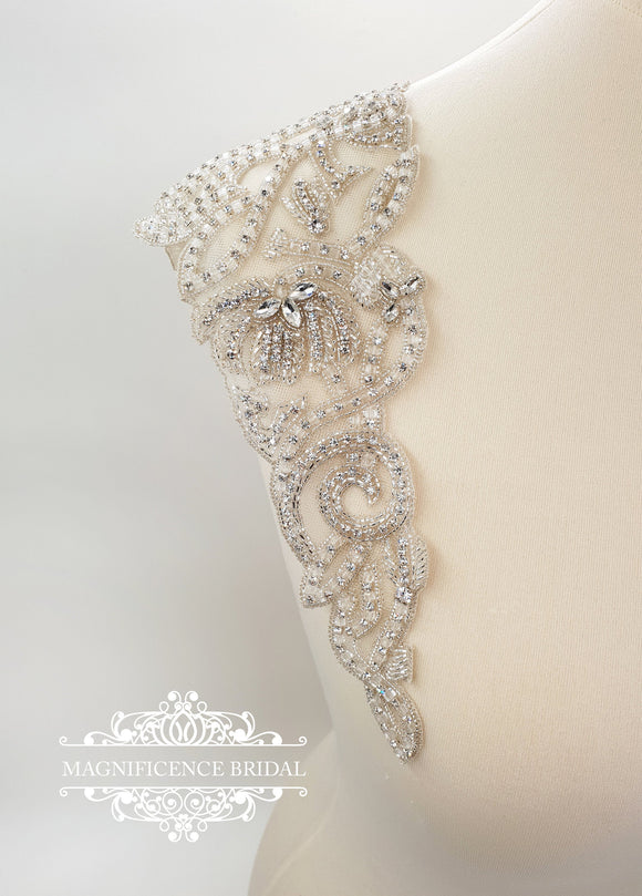 Bridal embroidery straps AUDREY - magnificencebridal-com