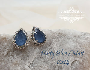 Blue earrings, bridal earrings, blue bridesmaids gift, blue stud earring, blue studs, royal blue, blue drop studs, something blue, SOFIA - magnificencebridal-com