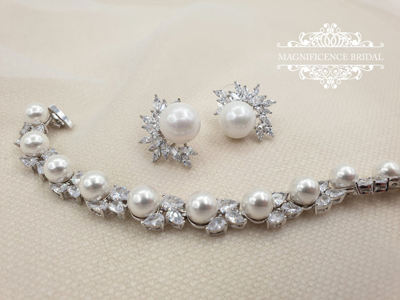 Pearl jewelry set, pearl earrings, wedding jewelry, bridal jewelry, wedding jewelry set, bridal jewelry set, pearl bracelet, pearl set DORA - magnificencebridal-com