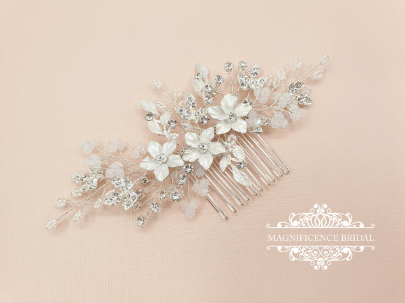 Bridal headpiece, Opal hairpiece, wedding headpiece, opal headpiece, bridal hair comb, bridal hair comb, white opal comb, Wedding, ALESIA - magnificencebridal-com