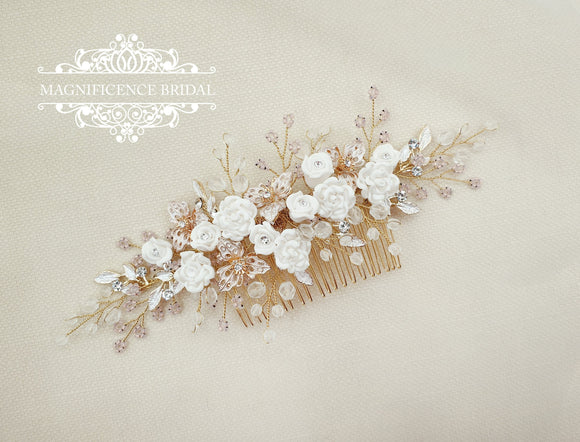 Gold Headpiece, Gold and blush, gold bridal comb, Bridal hair comb, Bridal headpiece, wedding headpiece, bridal comb, bridal comb AGATE - magnificencebridal-com