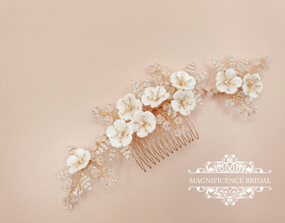 Gold and flower bridal comb LOLITA - magnificencebridal-com