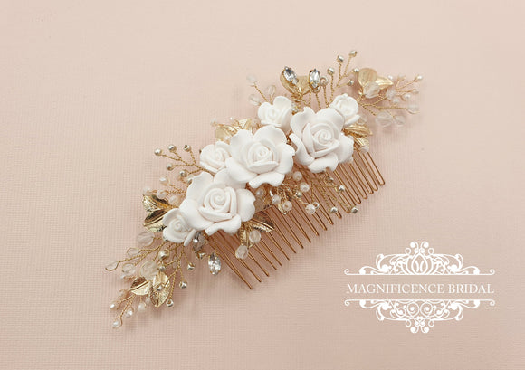 Gold headpiece, Gold bridal comb, Bridal headpiece, gold hair piece, white and gold, white roses comb, Wedding headpiece, bridal comb, LOLA - magnificencebridal-com