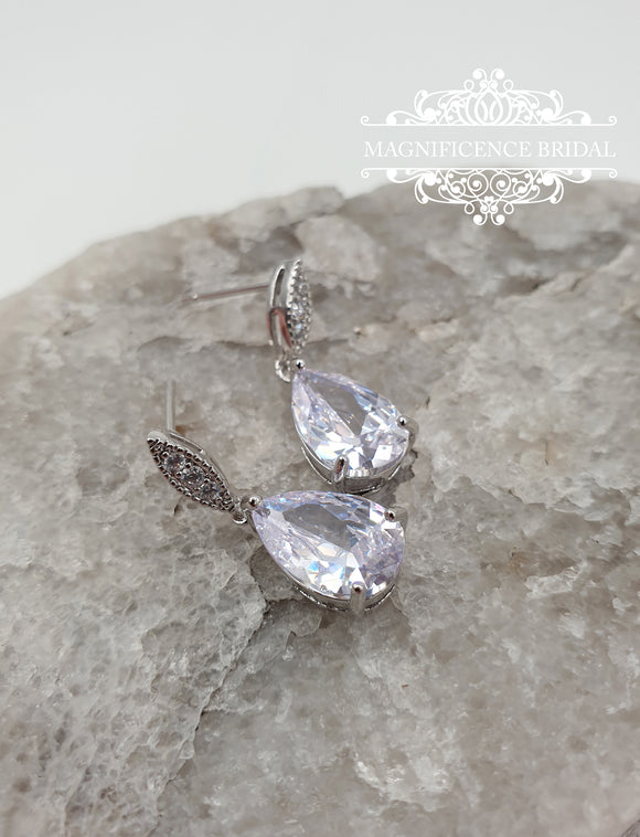 Small drop earrings, crystal drop earrings, drop cz earrings, Rose gold earrings, Bridal CZ Earrings, Bridal earrings, cz earrings, MARGARET - magnificencebridal-com