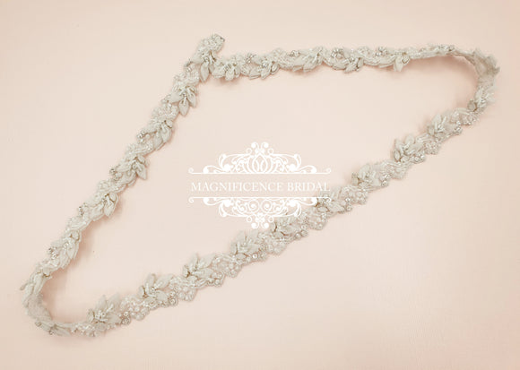 Thin bridal belt, bridal belt, light bridal belt, thin wedding belt, skinny bridal sash, thin rhinestone belt, all around belt, SUSAN - magnificencebridal-com