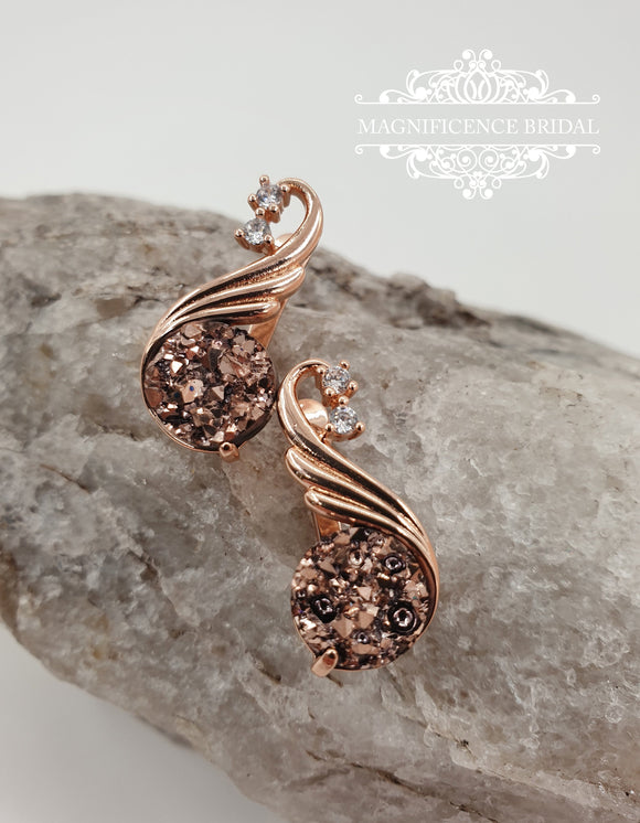 Druzy rose gold earrings, druzy earrings, rose gold earrings, Small earrings, rose gold druzy, crystal earrings, druzy cz earrings, MARA - magnificencebridal-com