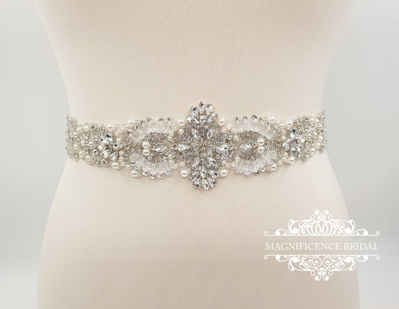 Pearl bridal belt,  bridal belt, wedding dress belt, Diamante belt, crystal belt, rhinestone belt, All around belt, beaded belt, ELAINE - magnificencebridal-com