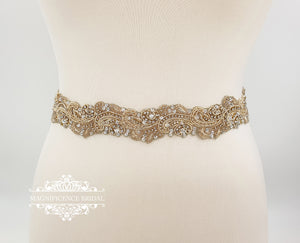 Light gold belt LOREN - magnificencebridal-com
