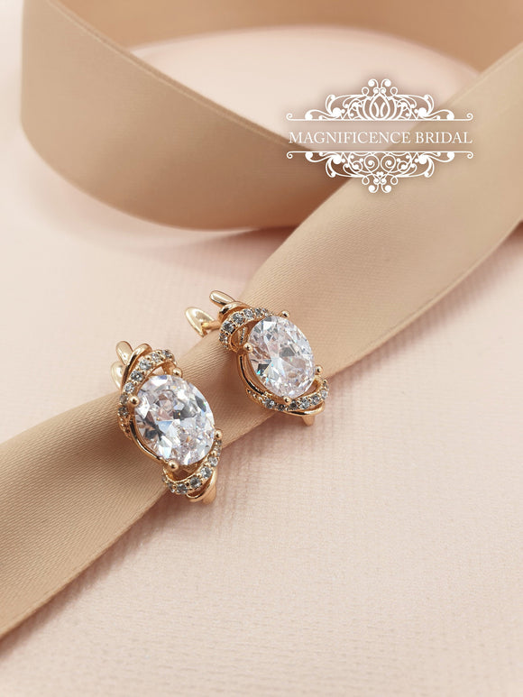 Small earrings, crystal earrings, gold earrings, Bridal CZ Earrings, Bridal earrings, bridesmaid jewelry, zircon earrings, gold cz, THALIA - magnificencebridal-com