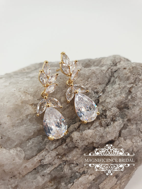 Dangle zircon earrings PAULA - magnificencebridal-com
