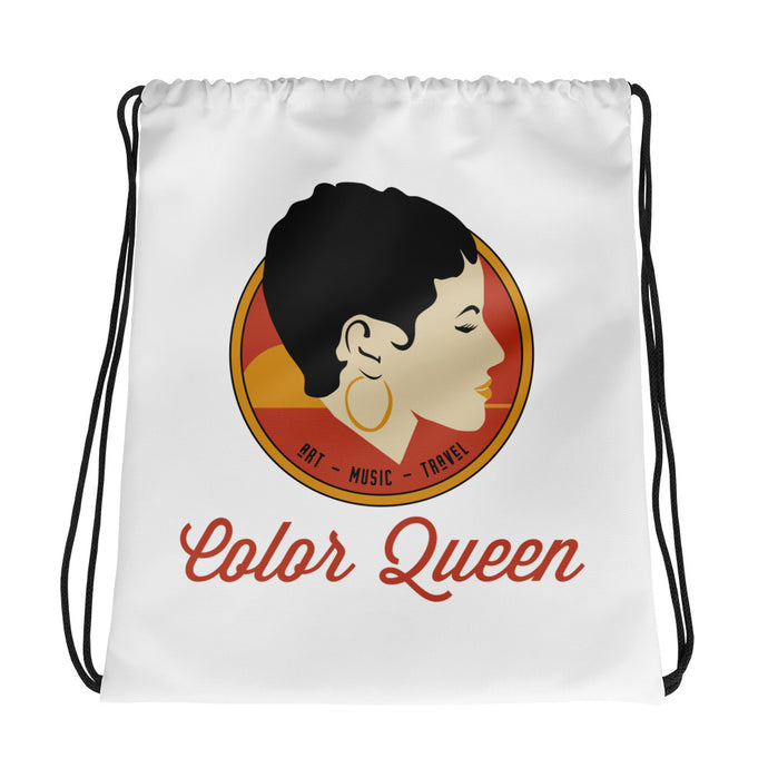 COLORQUEEN Red and Gold Drawstring Bag