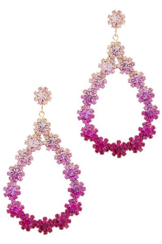Floral Rhinestone Teardrop Stud Earrings (Fuschia)