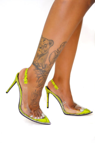 Crystallized Python Pumps (Lime) - FINAL SALE