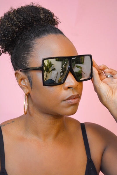 Oversized Square Sunglasses (Sliver/Black)