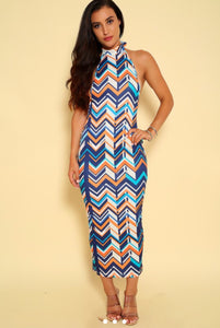 Chevron Halter Bodycon Midi Dress