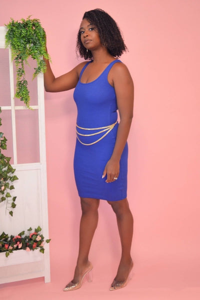 Ribbed Mini Dress ( Royal Blue) - FINAL SALE