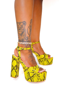 Platform Snake Print Heel (Yellow) - FINAL SALE