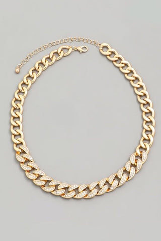 Cuban Link Rhinestone Necklace (Gold)