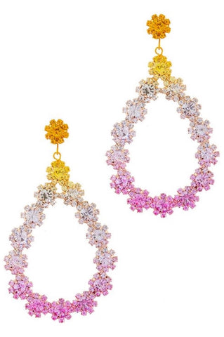 Floral Rhinestone Teardrop Stud Earrings (Yellow)