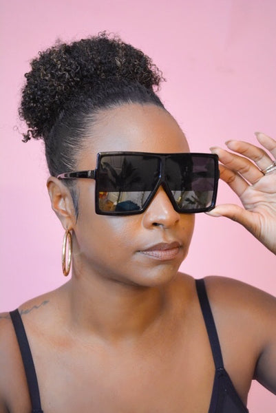 Oversized Square Sunglasses (Black/Silver)