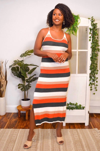 Rust Crochet Knitted Maxi Dress