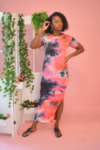 Tie Dye Bodycon Maxi Dress (Red Multi)
