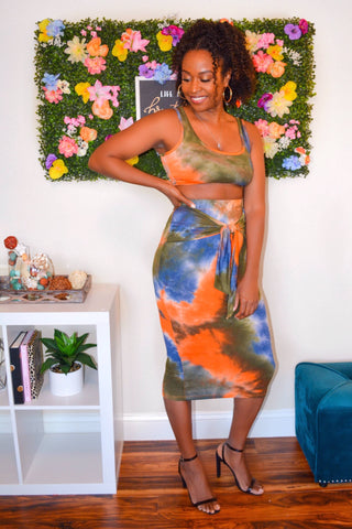 Tie Dye Midi Skirt Set (Rust)
