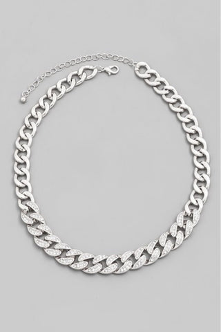 Cuban Link Rhinestone Necklace (Silver)