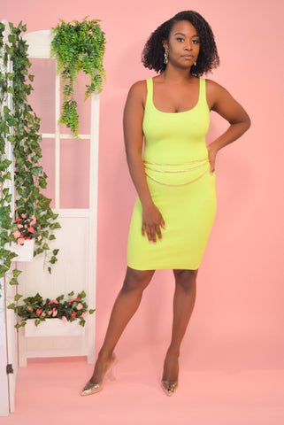 Ribbed Mini Dress (Lime)