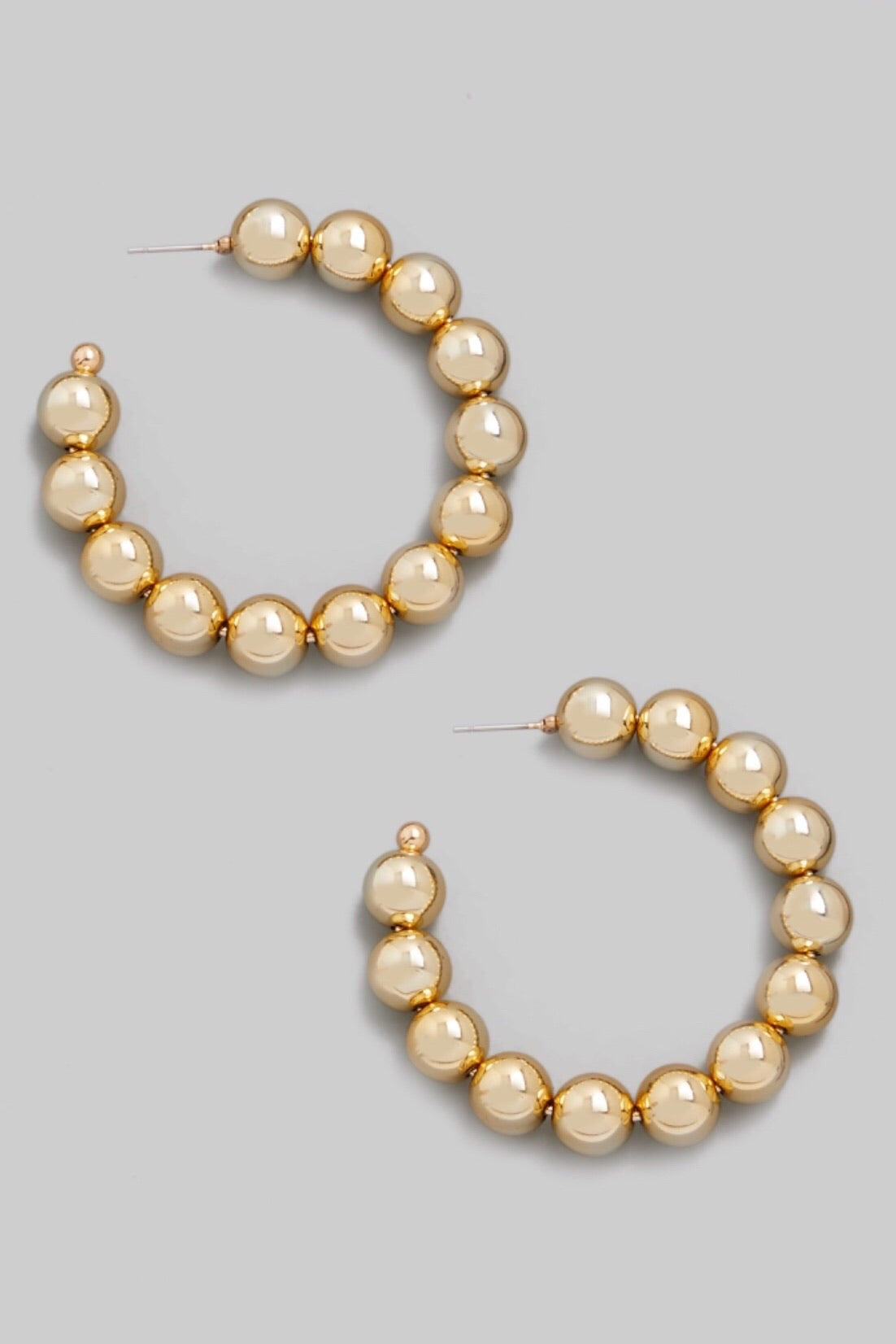Metallic Ball Beaded Open Hoop Earrings (Gold)