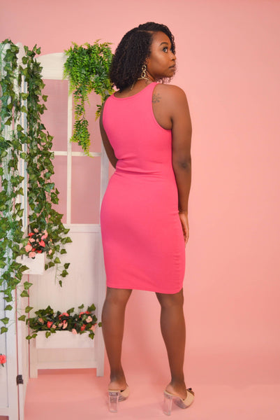 Ribbed Mini Dress (Fuchsia)