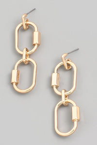 Gold Link Drop Earrings
