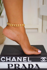 Rhinestone Curb Chain Anklet (Gold)