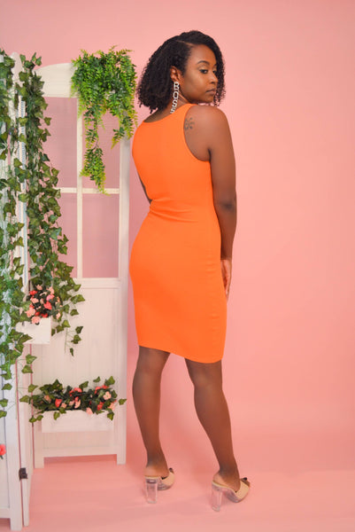 Ribbed Mini Dress (Orange)